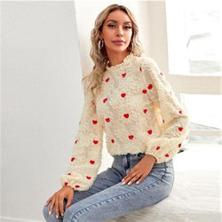 Heart Embroidery Frill Neck Fuzzy Blouse