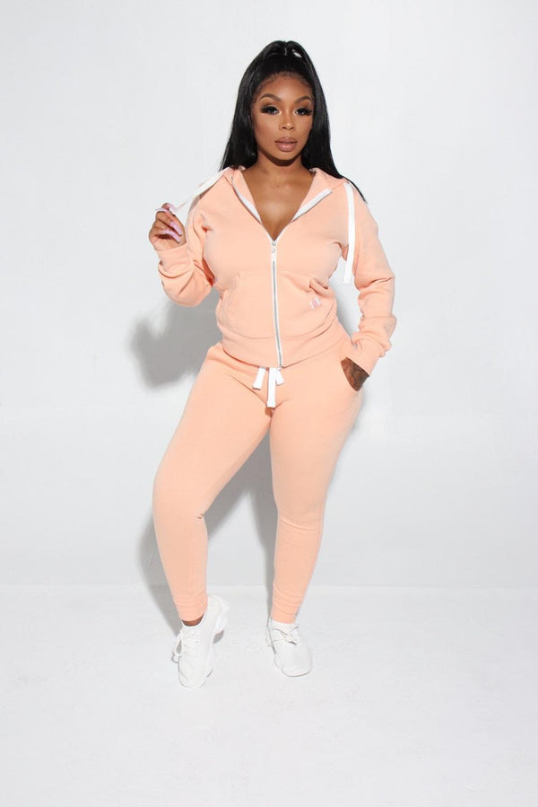 Casual Sporty Zipper Two Piece Set