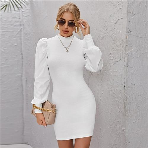 White Mock Neck Rib-Knit Bodycon Dress