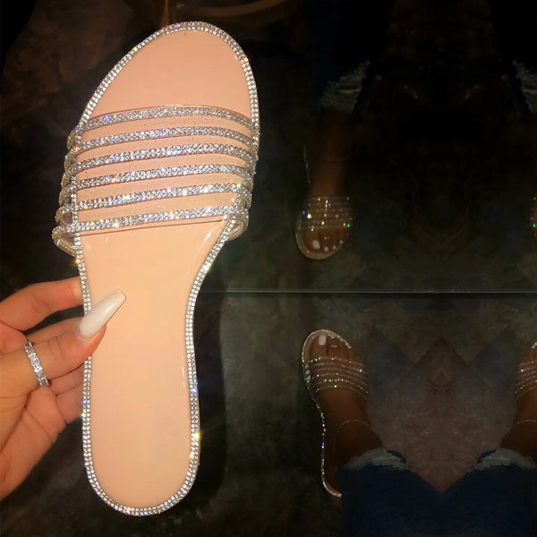 Shiny Crystal Straps Sandals
