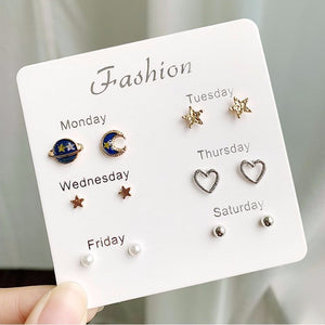 Rhinestone Crystal Pearl Studs Earrings Set (6 Pairs/set)