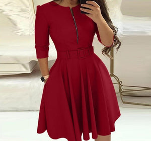 Belted A-Line Three Quarter Sleeve Mini Dress - Fashion Bug Online