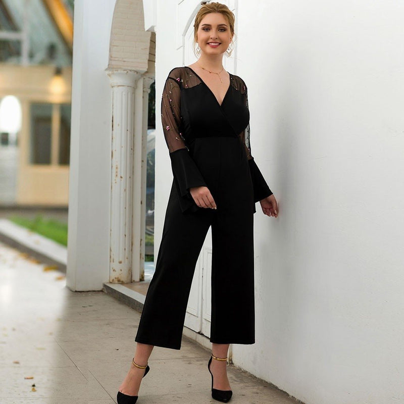 Black mesh embroidered jumpsuit - Fashion Bug Online