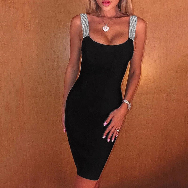 Black Sequin Straps Sleeveless Dress - Fashion Bug Online