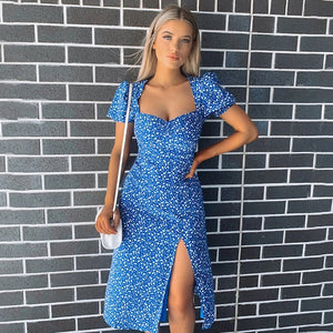 Blue Casual Floral Print Ruffles Midi Dress - Fashion Bug Online
