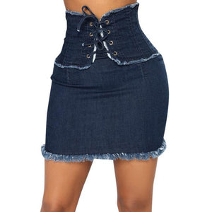 Blue lace up closure mini skirt - Fashion Bug Online