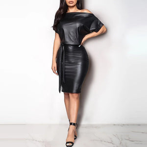 Bodycon Faux Leather Long Dress - Fashion Bug Online