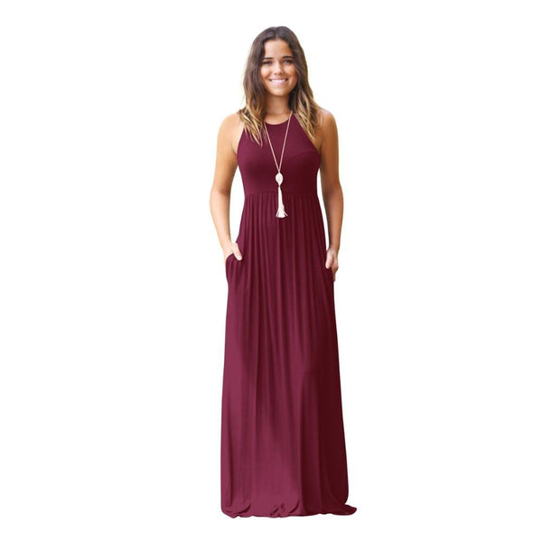 Bohemia Sleeveless Vest Pocket Maxi Dress - Fashion Bug Online