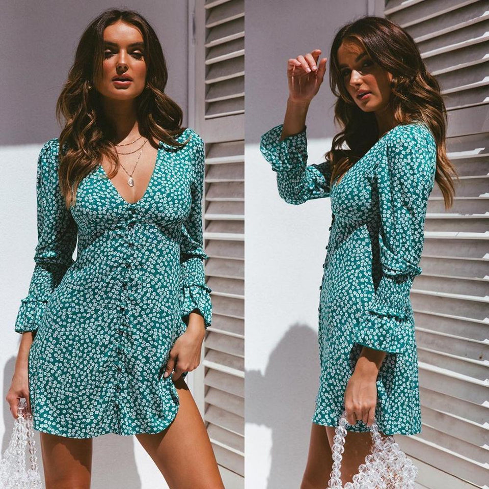 Bohemian Floral Long Sleeve A-line Dress - Fashion Bug Online
