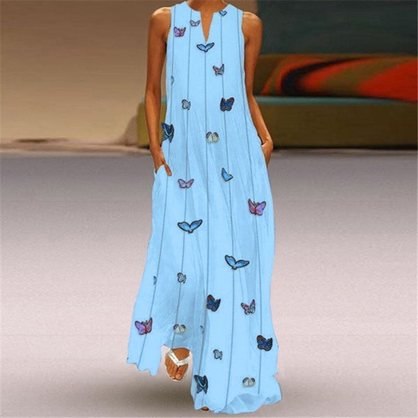 Bohemian Sleeveless Loose Maxi Dress - Fashion Bug Online