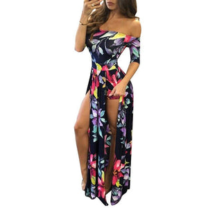 Boho Off Shoulder Half Sleeve High Slit Dress