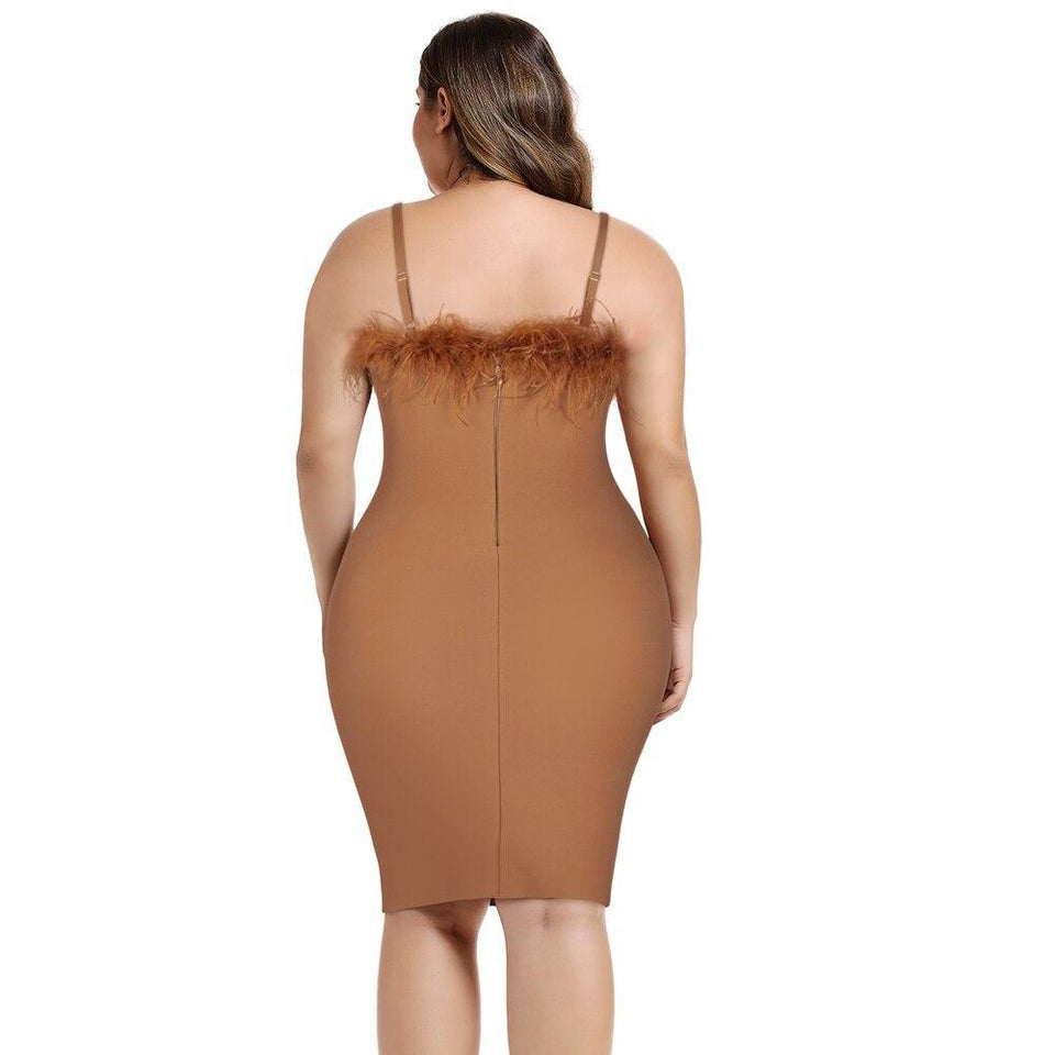 Brown Bandage Feather Dress