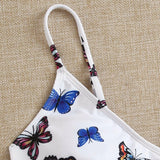 Butterfly Print Bandage Push Up Swimwear