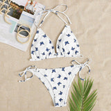 Butterfly Print Push Up Halter Bikini