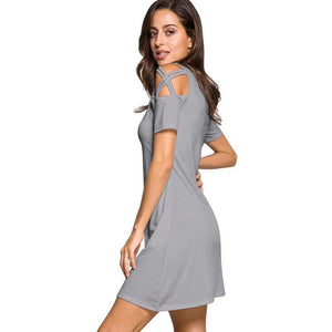 Casual Crossover Shoulder Hollow Mini Dress