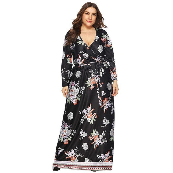 Casual Floral Print Loose Long Dress