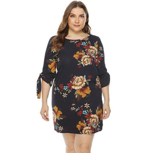 Casual Half Sleeve Shrink Band Floral Print Mini Dress