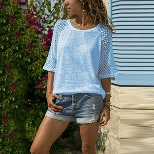 Casual Lace Stitching Blouse