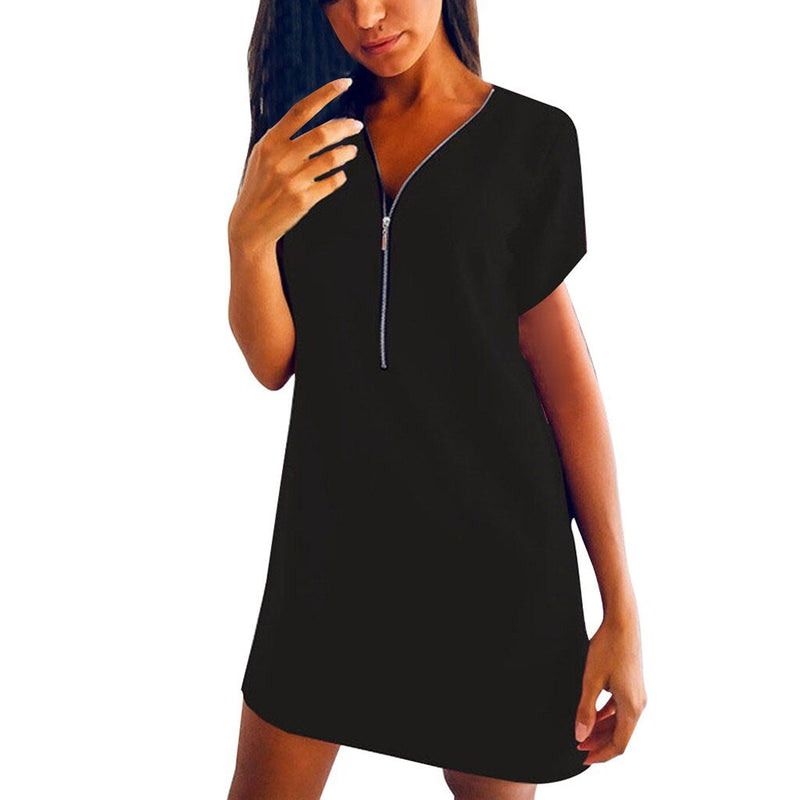 Casual Loose High Waist Zipper Dress