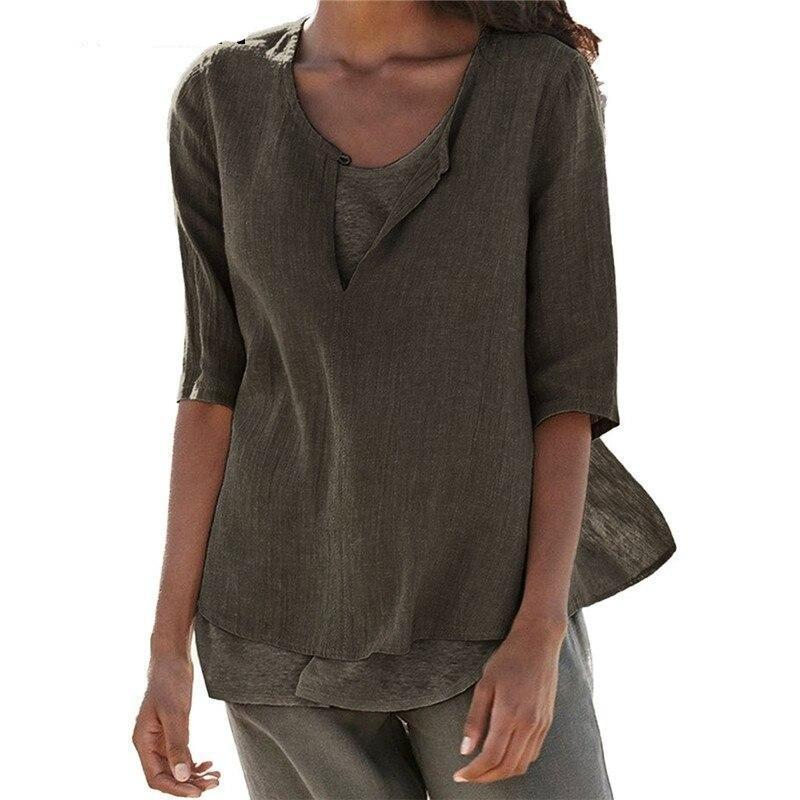 Casual Loose Linen Tunic Top
