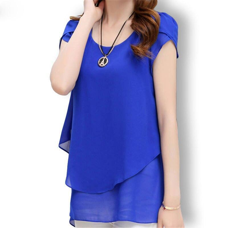 Casual Short Sleeve Chiffon Blouse