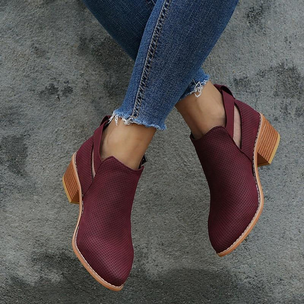 Casual suede buckle boots