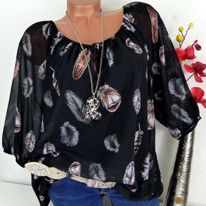 Chiffon Feather Print Top