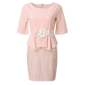 Chiffon Flare Sleeve Peplum Dress