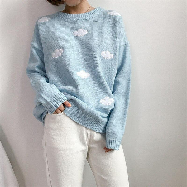 Cloud Print Knitted Sweaters