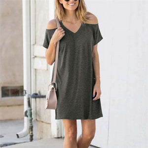 Cold-Shoulder Solid Mini Dress