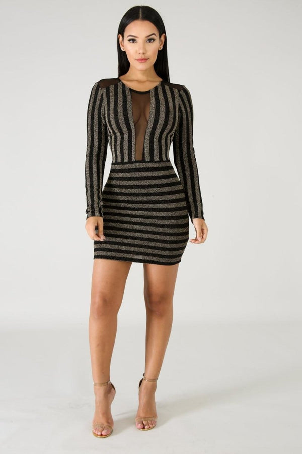 Color Match Striped Long Sleeve Dress