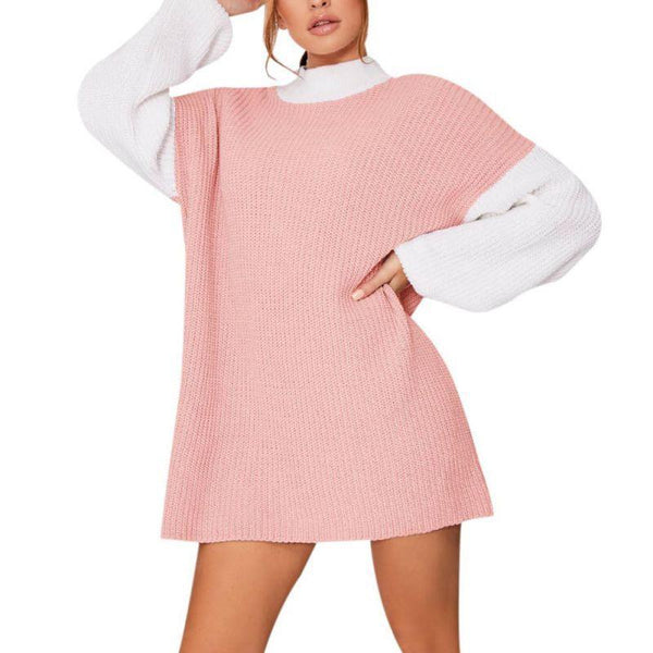Color Matching Long Sleeve Knit Dress