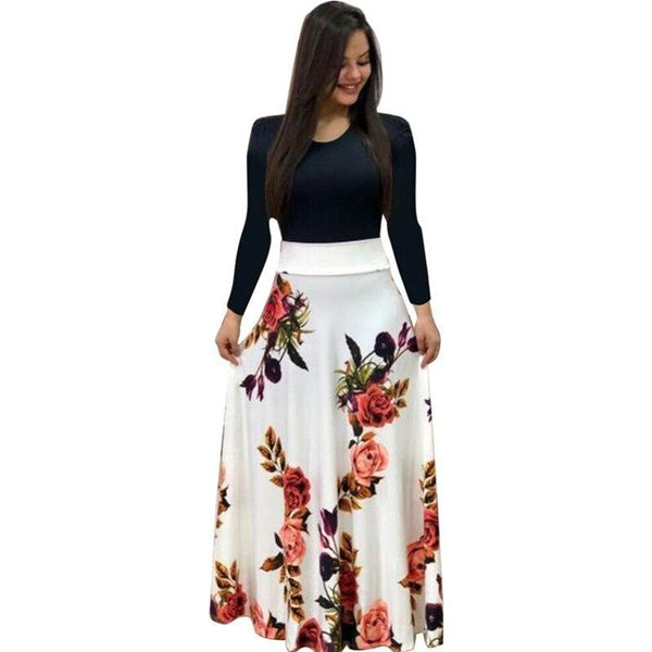 Colorblock Flower Print Long Sleeve Dress