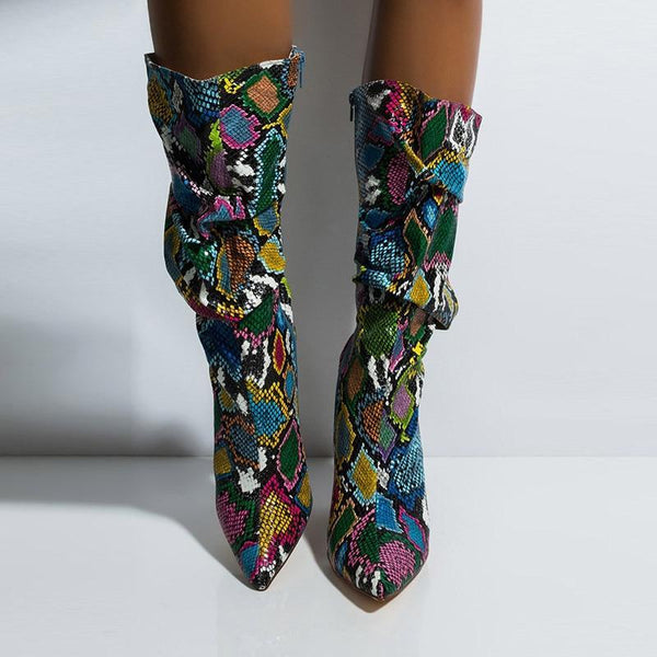Colorful snakeskin boots