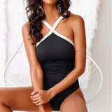 Contrasting straps solid color swimwear