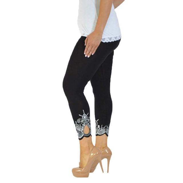 Cut out lace print leggings