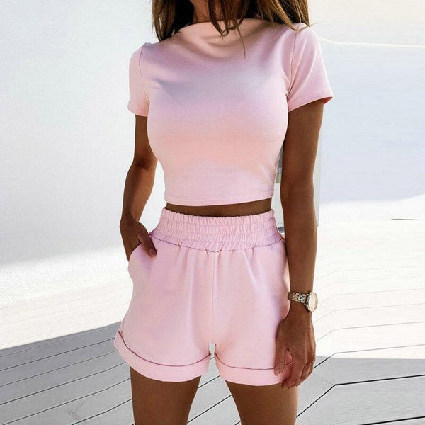 Dots Casual short-sleeved t-shirts and high waist shorts - Fashion Bug Online
