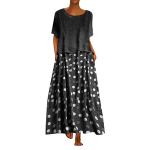 Dots print patchwork maxi dress - Fashion Bug Online