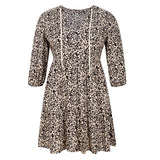 Drawstring Leopard Print Loose A-Line Dress - Fashion Bug Online