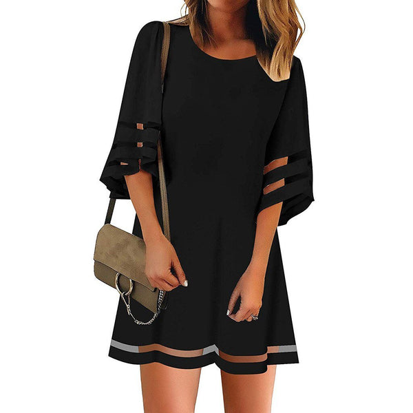 Elegant Mesh Three Quarter Flare Sleeve Loose Dress - Fashion Bug Online