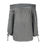 elegant plaid off shoulder blouse - Fashion Bug Online