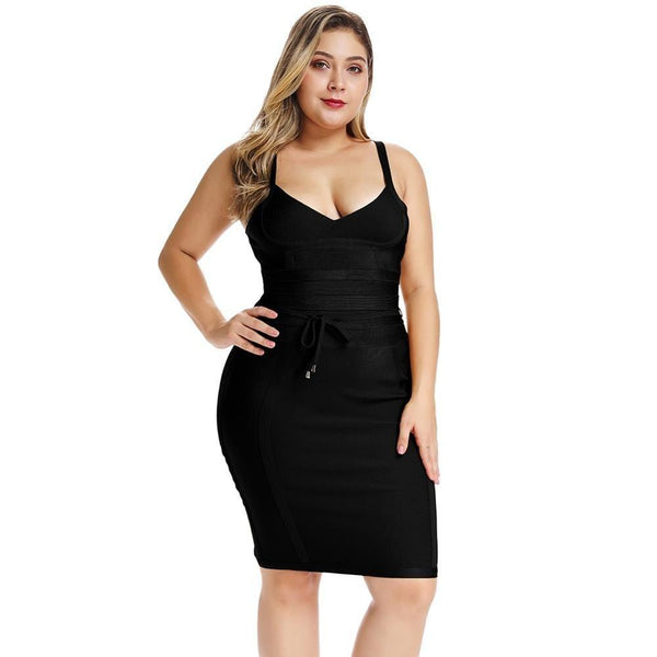 Elegant Plus Size Bandage Mini Dress - Fashion Bug Online