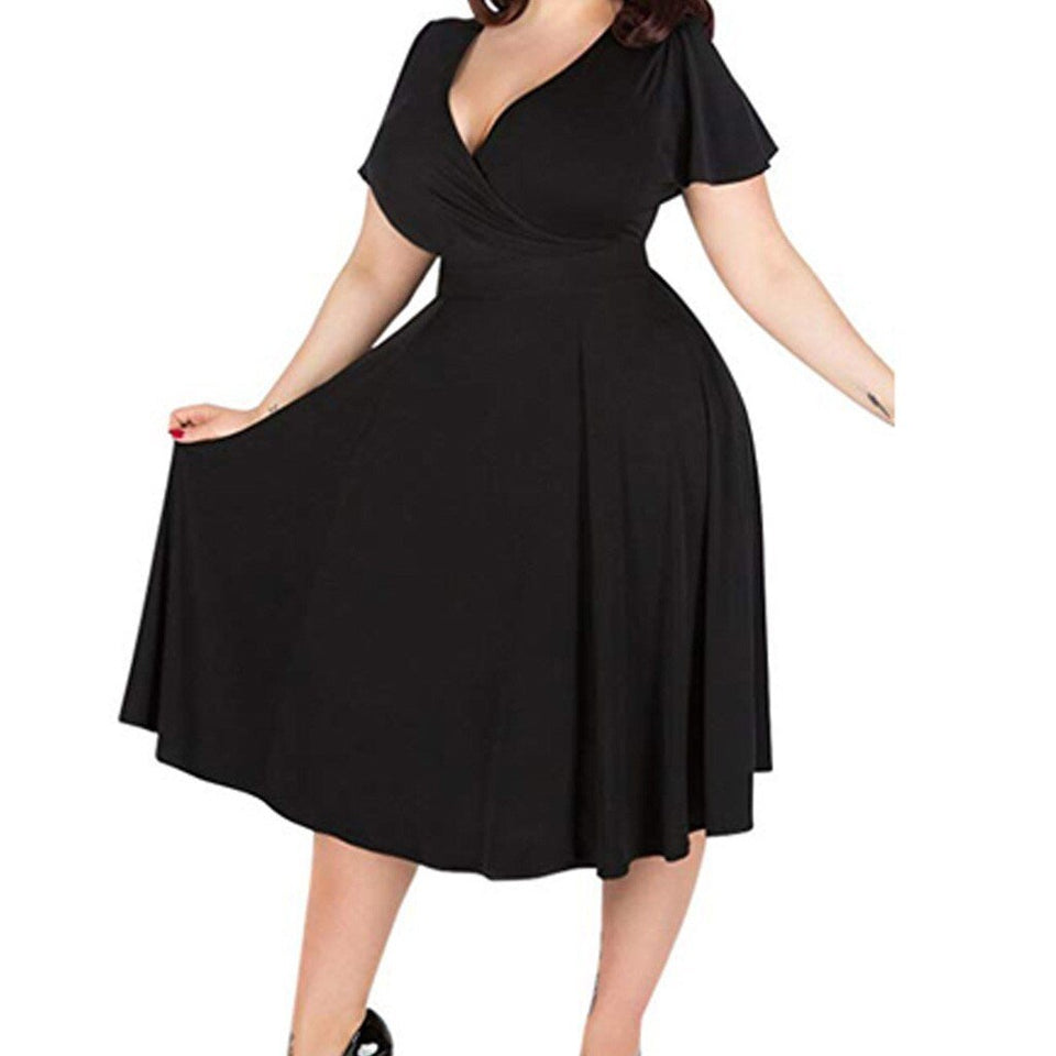 Elegant Plus Size Short Sleeve High Waist Dress - Fashion Bug Online