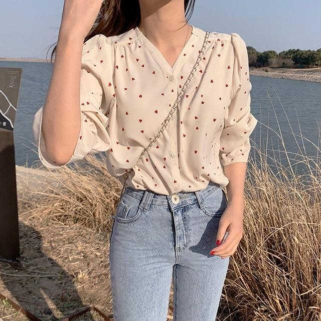 Endless hearts print oversized shirt - Fashion Bug Online