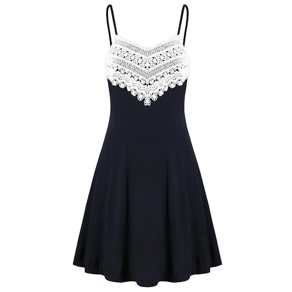 Fashion Crochet Lace Mini Slip Dress - Fashion Bug Online