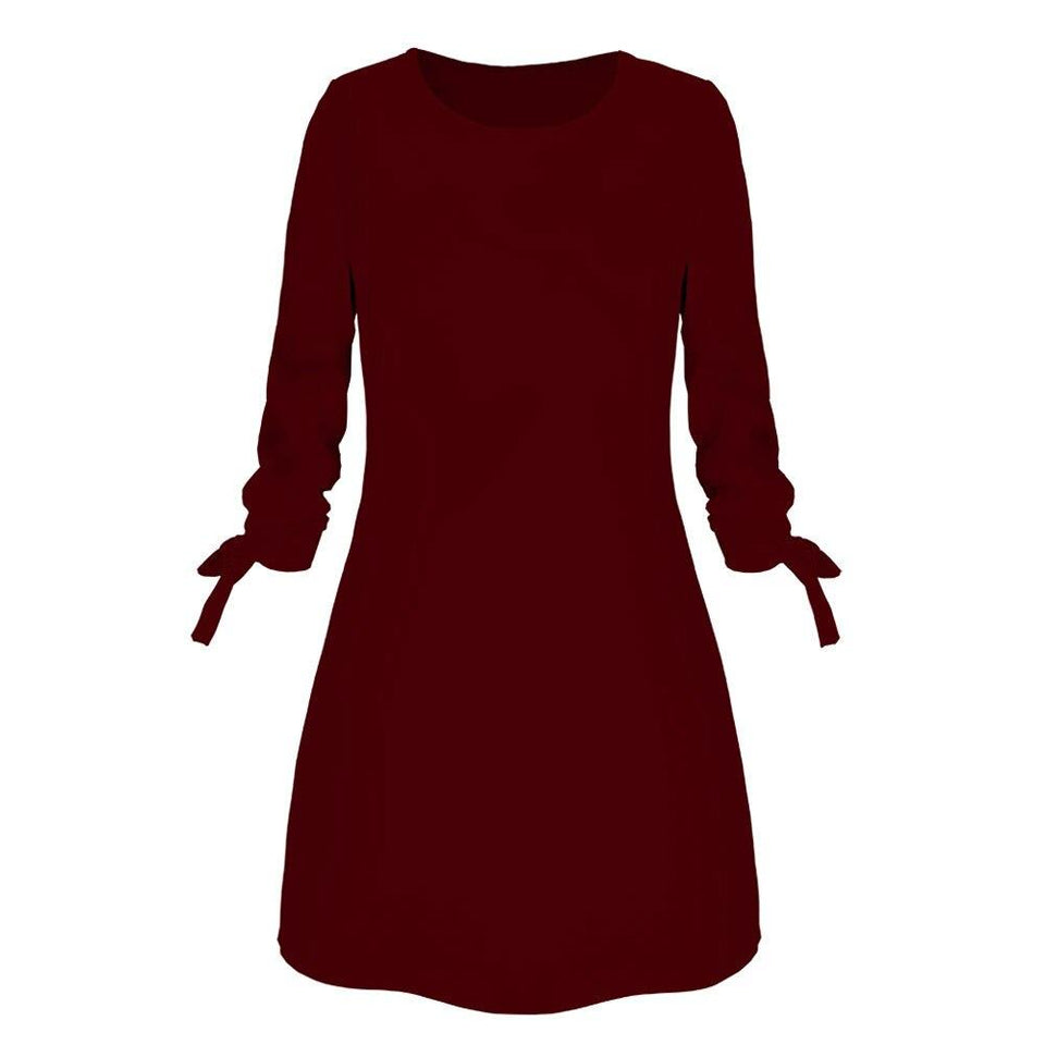 Fashion Quarter Sleeve Bow Loose Dress - Fashion Bug Online