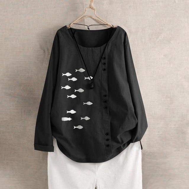 Fish print loose kaftan shirt - Fashion Bug Online