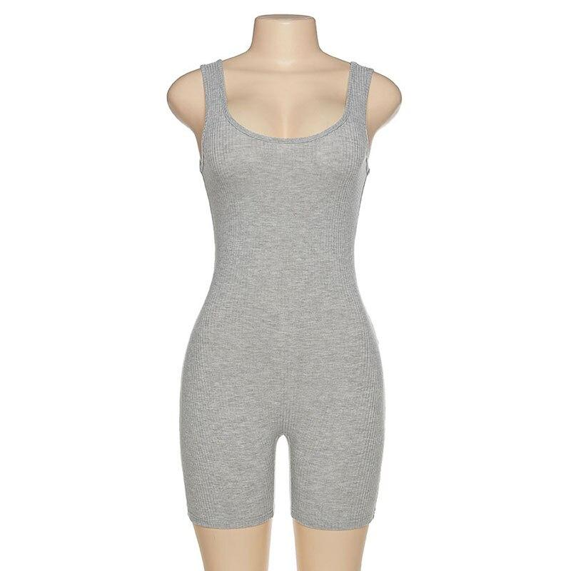 Fitness Knit Rib Bodycon Jumpsuit - Fashion Bug Online