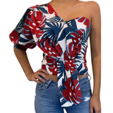Floral one shoulder half sleeve top - Fashion Bug Online
