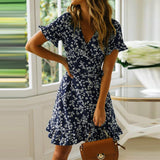 Floral Print Boho Short Sleeve Mini Dress - Fashion Bug Online